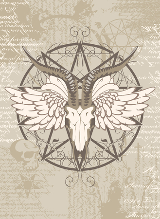 heavy metal: pentagram with the image of a goat skull on the background of the papyrus with occult symbols