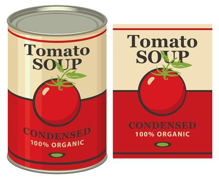 illustrazione vettoriale di un barattolo di latta con zuppa di pomodoro etichetta Vettoriali
