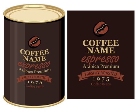 coffe beans: Vector illustration of a tin can with label of coffe beans Illustration
