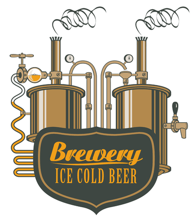 armorial: vector logo for beer brewery with barrels in retro style Illustration