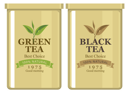 box design: Vector illustration of a tin can with label of black and green tea