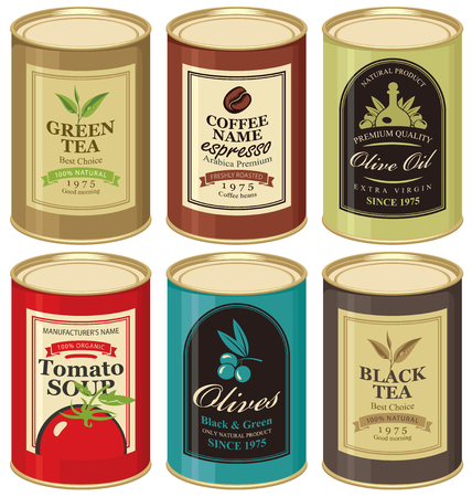 オリーブ、茶、コーヒーとトマトのスープのラベルとブリキ缶のセットのベクトル イラスト