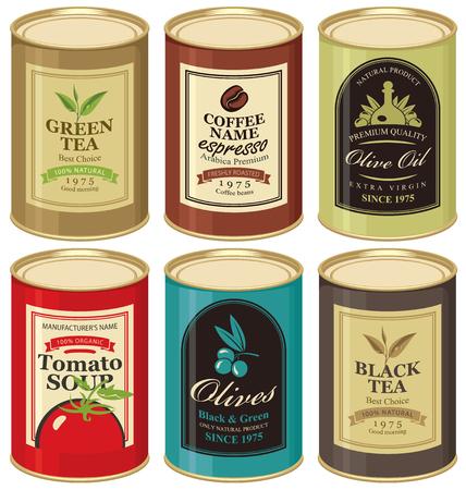 set Vector illustratie van een blikje met etiket van olijven, thee, koffie en tomatensoep