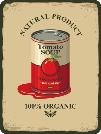 pasteurized: Vector illustration of a tin can with label tomato soup in retro
