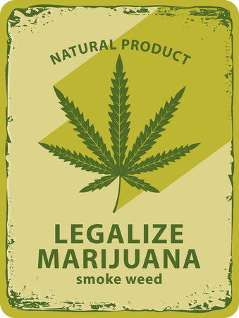 thc: vector banner with cannabis leaf and labeled legalize marijuana Illustration