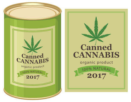 thc: vector banner with tin can canned hemp and cannabis leaf