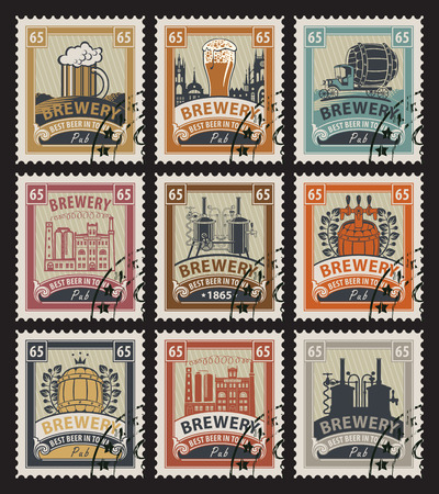stamp design: set of postage stamps on the theme of beer and brewery