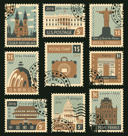 forbidden city: set of stamps with different historical architectural sights landmarks Illustration