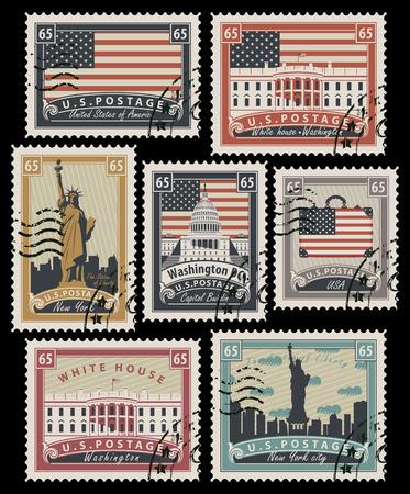 set van postzegels met het imago van de Verenigde Staten van Amerika architectonische bezienswaardigheden in retro stijl