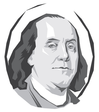 vector portrait Benjamin Franklin in black and white