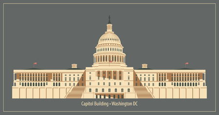 federal election: Vector illustration Capitol Building in Washington DC
