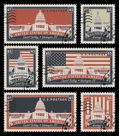 washington dc: set of stamps with the image of the US Capitol in Washington, DC