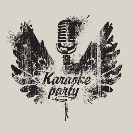 banner karaoke party with a microphone and wings in spots and splashes