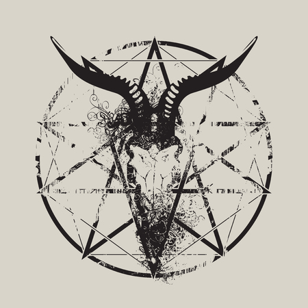 vector illustration with skull of goat and pentagram with splashes and curls Illustration
