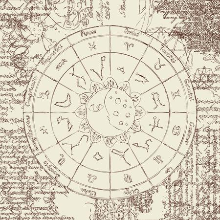 costellazioni: Zodiac con il sole, la luna e le costellazioni sullo sfondo del papiro con simboli diversi