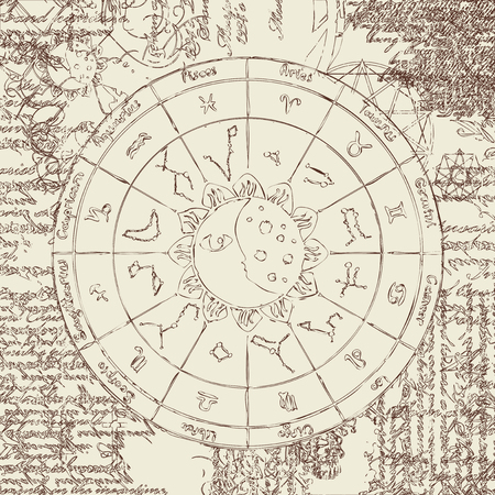 zodiac with the sun, moon and constellations against the background of the papyrus with different symbols