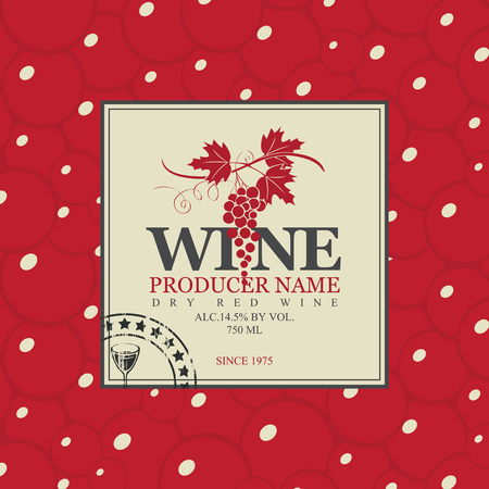 bottle label: vector labels for wine with background grapes