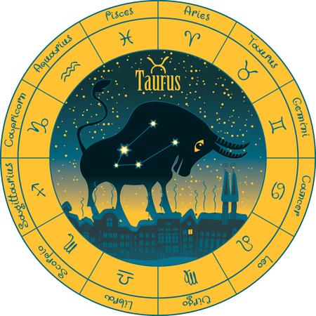 aries: tauro en el fondo de la noche del paisaje urbano y el cielo estrellado en círculo con los signos del zodíaco