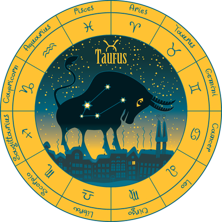 libra: taurus on the background urban night landscape and the starry sky in circle with the signs of the zodiac