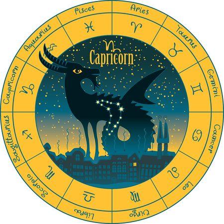 capricornio en el fondo paisaje urbano nocturno y el cielo estrellado en círculo con los signos del zodíaco