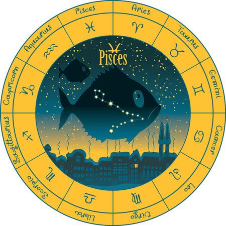 Pisces en el fondo paisaje nocturno urbano y el cielo estrellado en círculo con los signos del zodíaco Vectores
