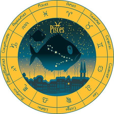 libra: pisces on the background urban night landscape and the starry sky in circle with the signs of the zodiac