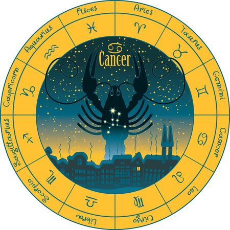 divination: cancer on the background urban night landscape and the starry sky in circle with the signs of the zodiac