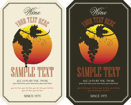 vineyard sunset: vector labels for wine with grapes in retro