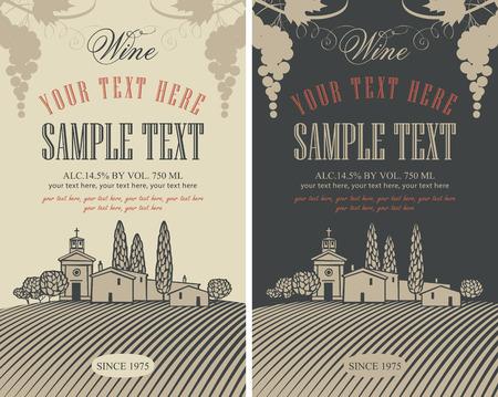 wine road: wine labels set with a landscape of vineyards