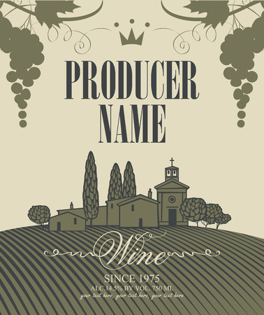 vineyards: wine labels with a landscape of vineyards and a bunch of grapes Illustration