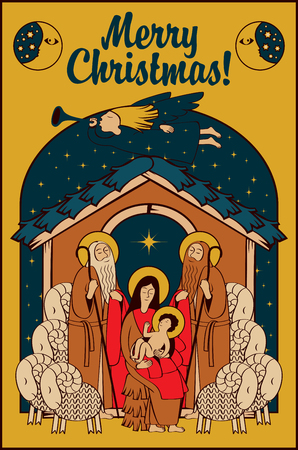 adoration: Adoration of the Magi. Holy Family and Christmas angel