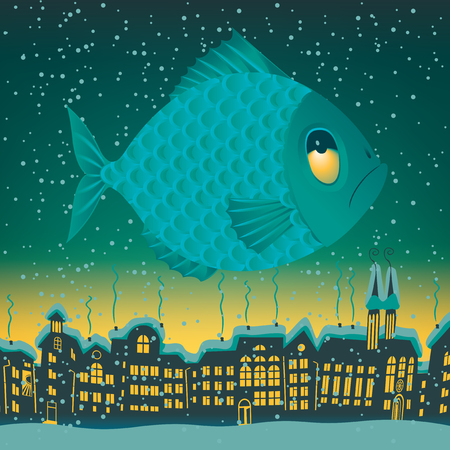 roof: big fish flies through the sky on the roofs of the old town
