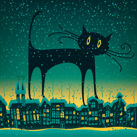 cat is on the roof in old town of the winter night Illustration