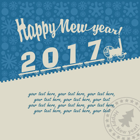 steam locomotive: Christmas card with a vintage steam locomotive carries inscription 2017 on the background of snowflakes