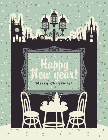 old furniture: Christmas card with an interior of a cafe in the old town with furniture and painting Illustration