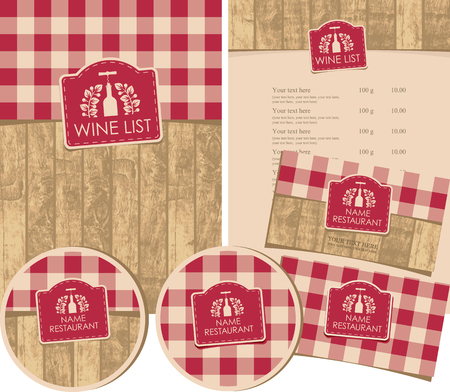 conjunto de elementos de diseño para una tienda de vinos o restaurante con menús, tarjetas de visita y posavasos Ilustración de vector
