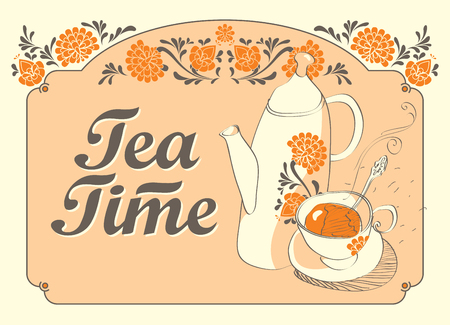chinese teapot: drinking tea time with cup and teapot and chinese ornament