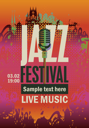 Musica poster banner con festival jazz un sassofono su sfondo sgangherata Vettoriali
