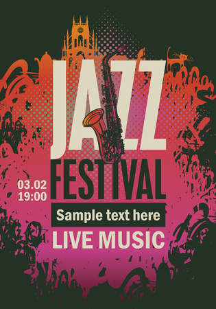 logo music: banner music poster with jazz festival an saxophone on grungy background