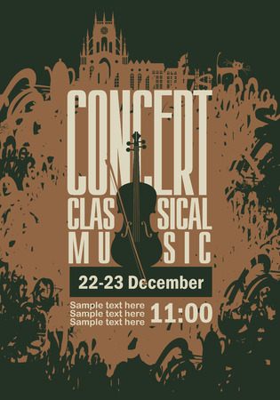classical: music poster for a concert of classical music with the image of a violin on a background of splashes and drops Illustration