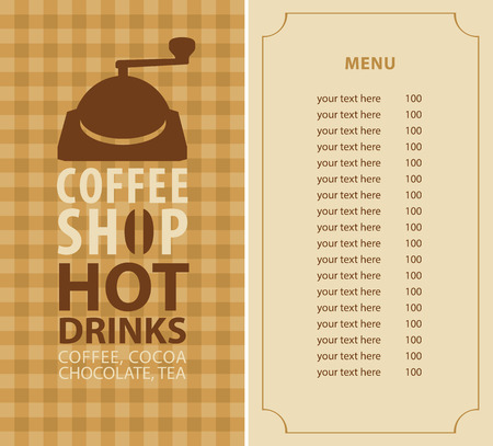 coffee grinder: menu for a coffee shop with price list and coffee grinder