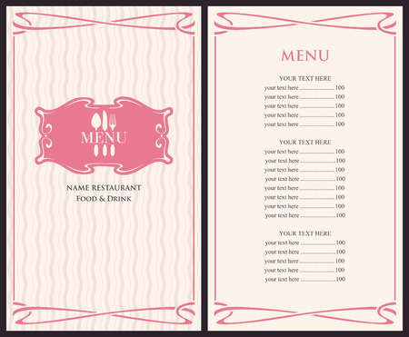 table decor: template menu with price with cutlery fork, spoon and knife Illustration