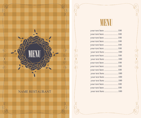 template menu with price with tablecloth texture with the cell