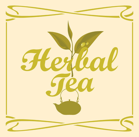 plant to drink: label for herbal tea with a pattern branch and kettle