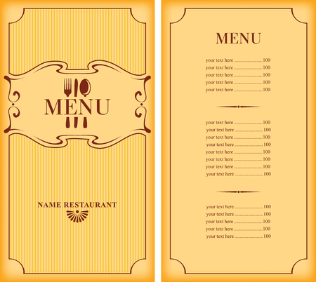 cafe menu: template menu with price with cutlery fork, spoon and knife Illustration