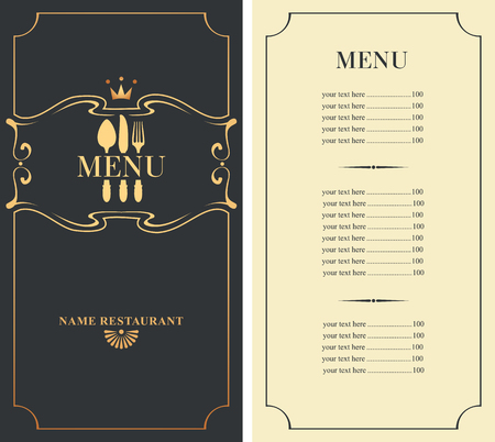 knife fork: template menu with price with cutlery fork, spoon and knife Illustration