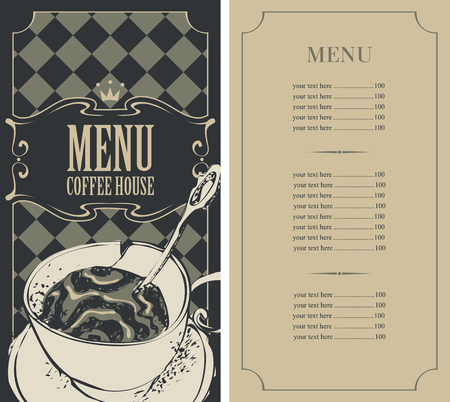 royal house: menu for a coffee house with price list and a cup of coffee Illustration