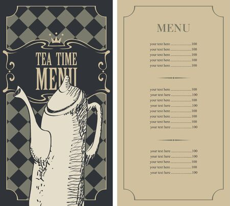hot price: menu for a tea time with price list and a kettle