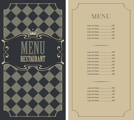royal: vector template menu with price and crown
