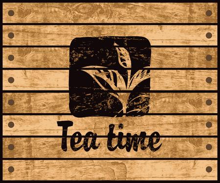 Bandera con el logotipo de la hora del té con un patrón rama de té arbusto sobre un fondo tablones de madera Foto de archivo - 67912730